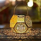 Solar Lantern Lights,Outdoor Hanging Garden Lights Gold Metal Lamp For Patio ,Outsideu2026