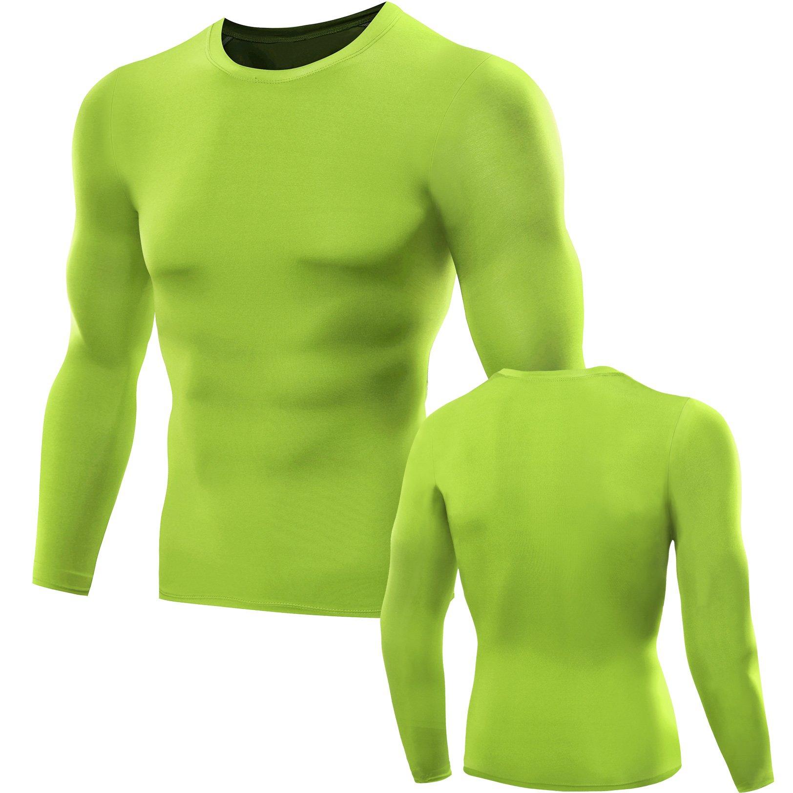 1dbd0df387bd Galleon - Neleus Men's 3 Pack Cool Dry Compression Baselayer Long Sleeve T  Shirts,5021,Green,L
