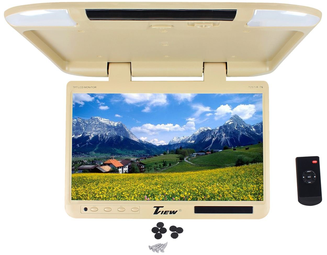 Tview T257IR-TN 25'' Beige/Tan Flip Down Wide Screen Ultra Slim TFT Car Monitor With Built In IR Receiver, Dual Dome Lights and Wireless Remote Control