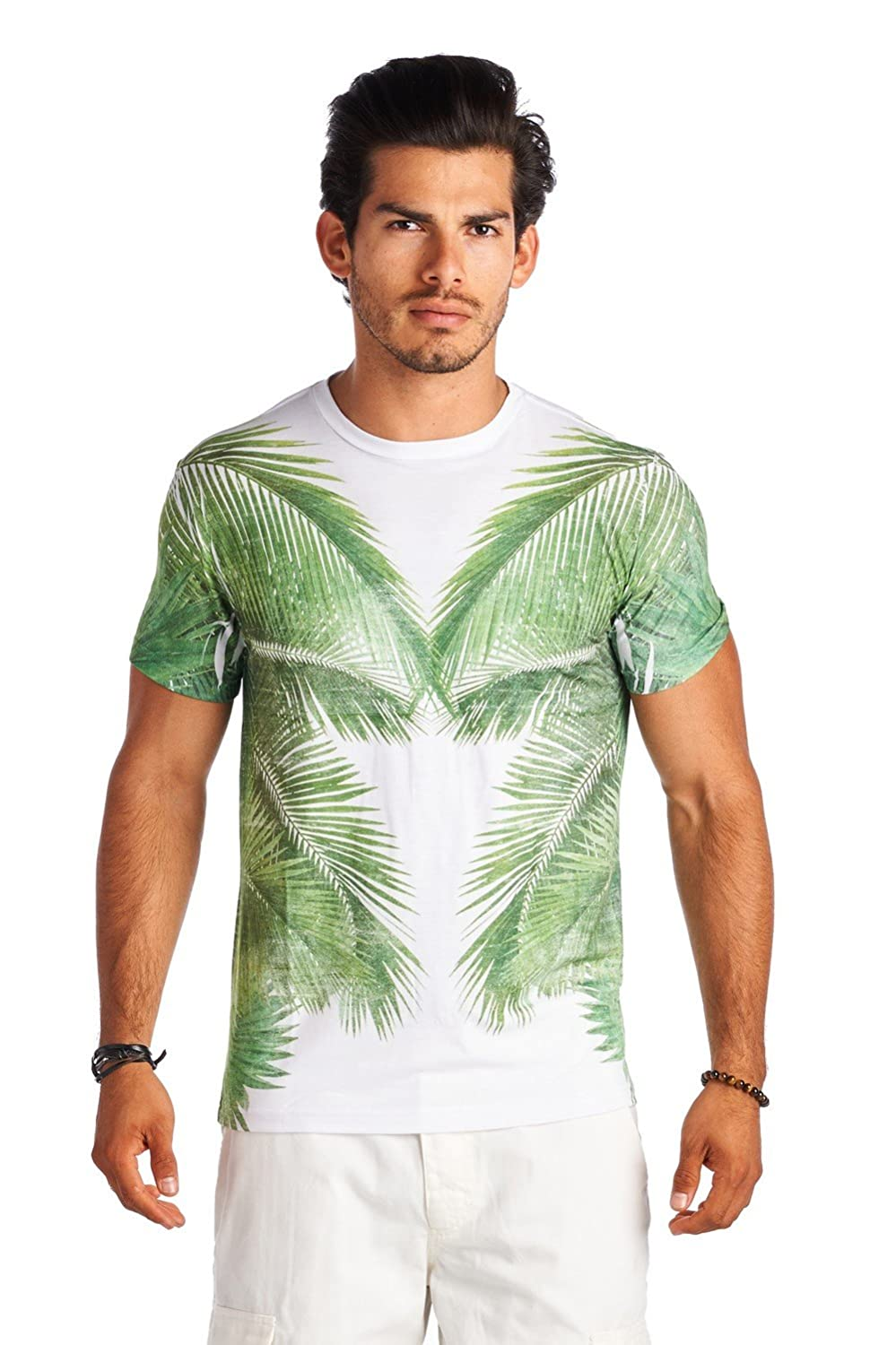 Forever21 21 Men Green White Palm Tree Crew Neck Print Shirt
