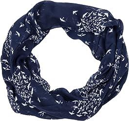 SIX Trend Schal: Leichtes Halstuch für jedes Outfit, im Loop Design, Tier-Motive Boa/Vögel/Schwalben/Tauben, dunkelblau weiß (705-379)
