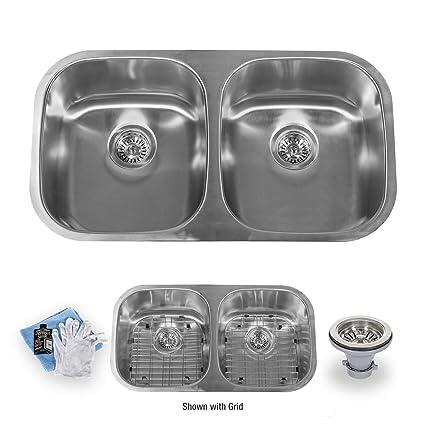 Miseno Mss3218c5050 32 Undermount Double Basin Stainless Steel