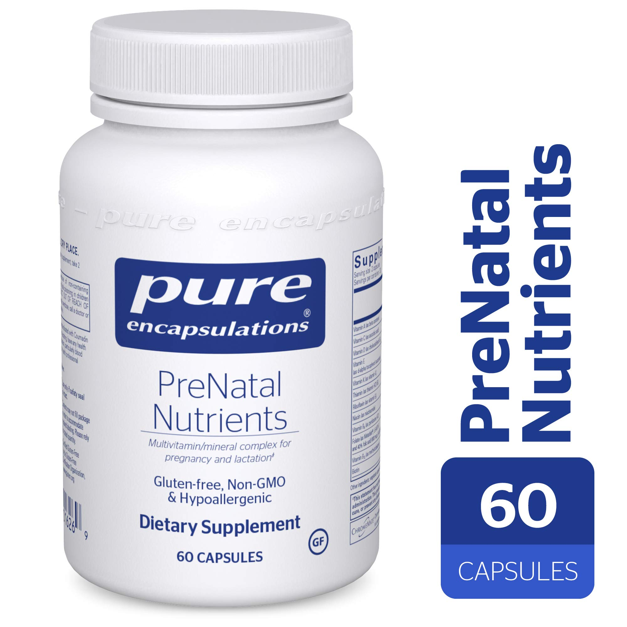 Pure Encapsulations - PreNatal Nutrients - Hypoallergenic Nutritional Support for Pregnancy and Lactation* - 60 Capsules