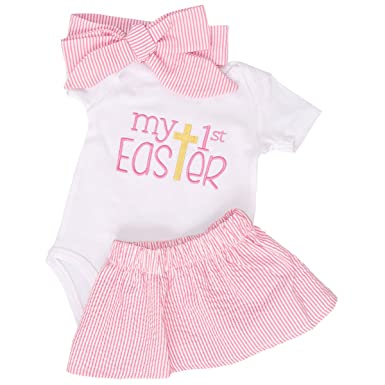 845d1a512173 Amazon.com  Unique Baby Girls My 1st Easter Skirt Layette Set Blue ...