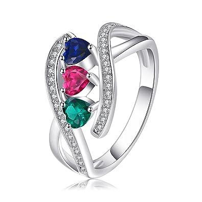 9aeade04c92e JewelryPalace Anillo elegante adornado creado Rubí Zafiro y Nano rusa  imitado esmeralda en forma de corazón en plata de ley 925  Amazon.es   Joyería