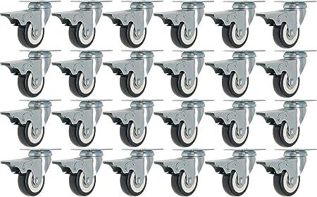 24 Pack 2 Inch Caster Wheel Swivel Plate On Blue Polyurethane Wheel PU