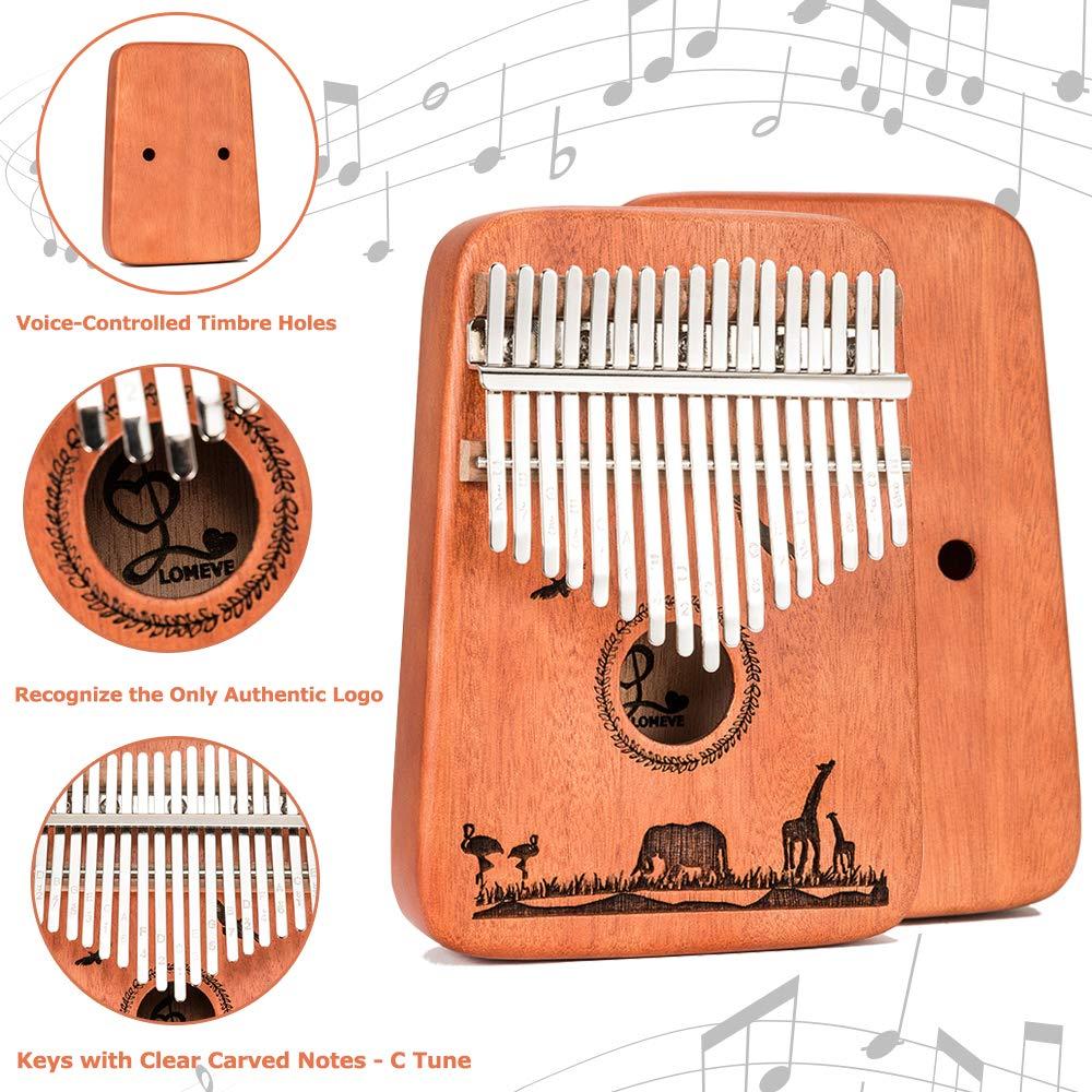 Kalimba 17 Keys Thumb Piano - Handmade Solid Mahogany Mbira Likembe Sanza with Tuning Hammer & Gift Accessories for Kids Adults Beginners Musicians by LOMEVE (Image #4)