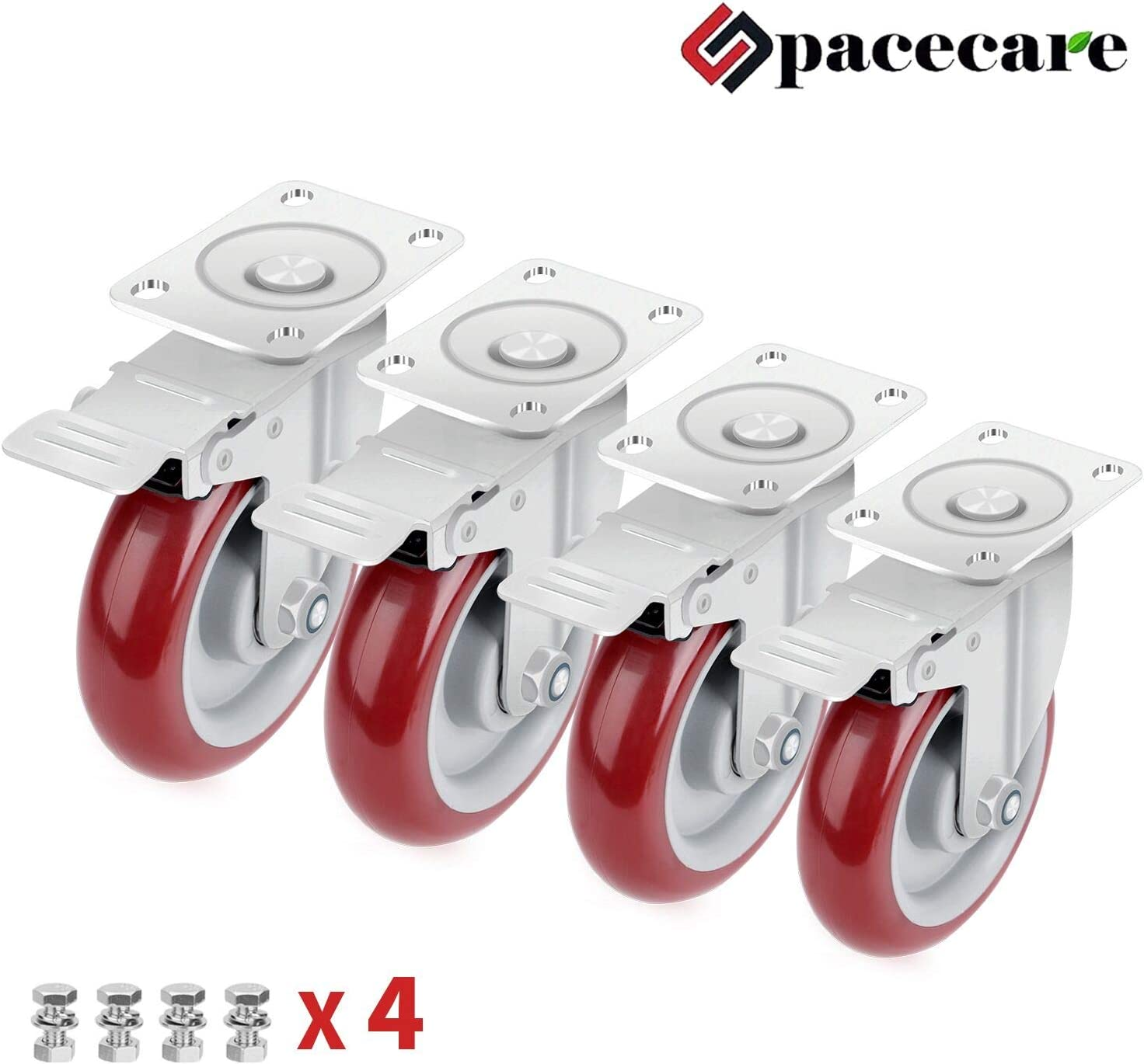 SPACECARE 4 Pack 3 Inch Swivel Red Casters Wheels 1200Lbs Heavy Duty Polyurethane Wheels with Brake Safety Dual Locking No Noise Wheels Anti-wear Smooth Casters