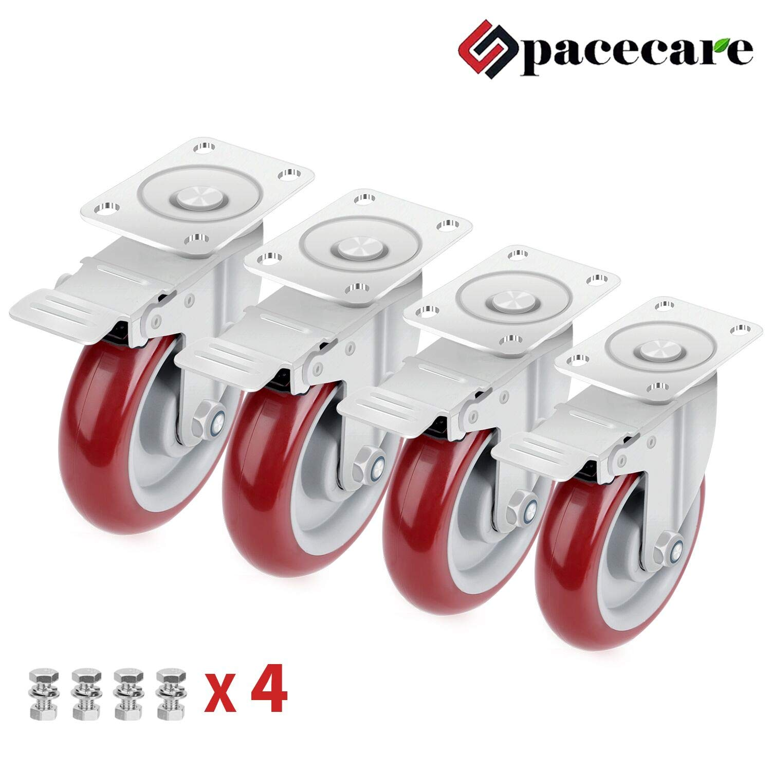 SPACECARE 4 Pack 5 Swivel Caster Polyurethane Wheels with Safety Dual Locking No Noise Wheels Lockable Anti wear Smooth Silent Heavy Duty 355lb Each