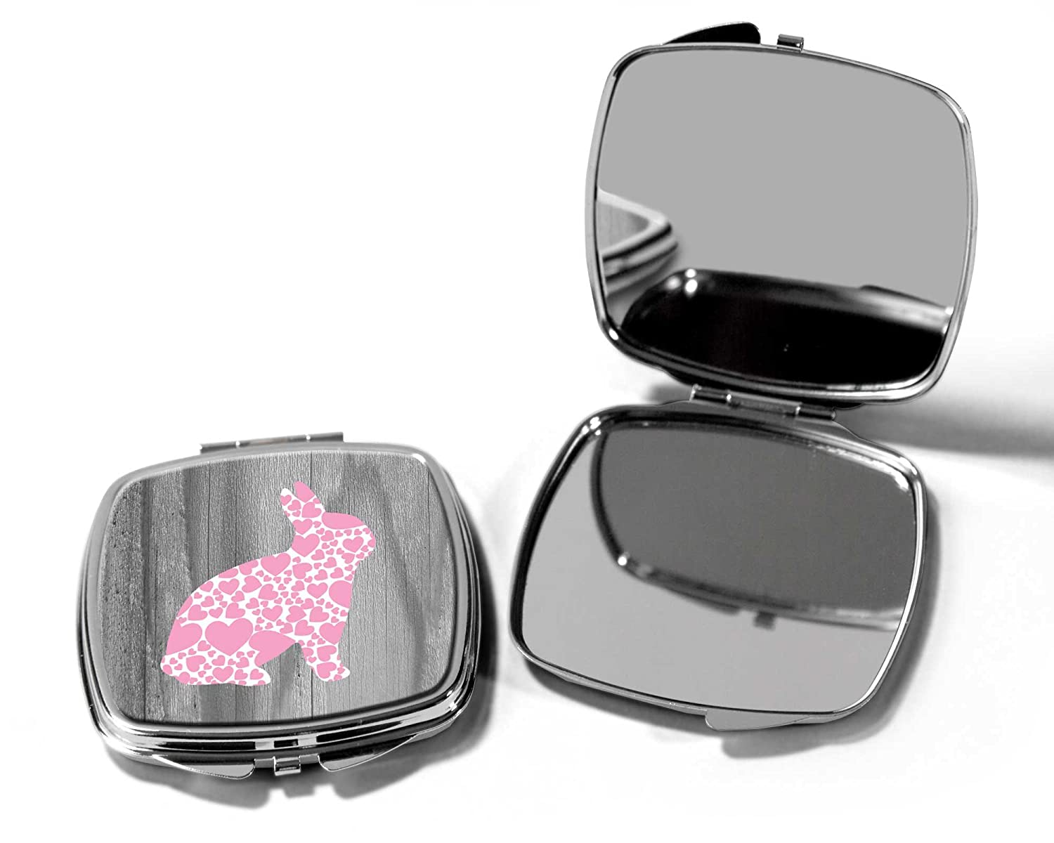 Pink Rabbit Pocket Compact make up Mirror SilverKangaroo
