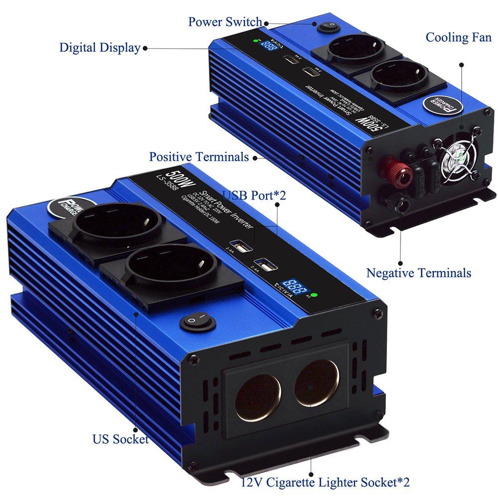 Jacknthe 500/W Power Inverter DC 12/V vers AC 220/V convertisseur onde sinuso/ïdale modifi/ée adaptateur de voi DE VOITURE Inverter avec 4.8/A Double AC prises allume cigare Sockets et 4.8/A Double ports de recharge USB