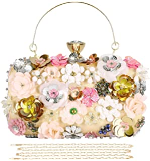 Rising ON Elegant Women Crystal Bling Diamond Day Clutches Pink Flower Party Bridal Wedding Banquet Chain Evening Bags