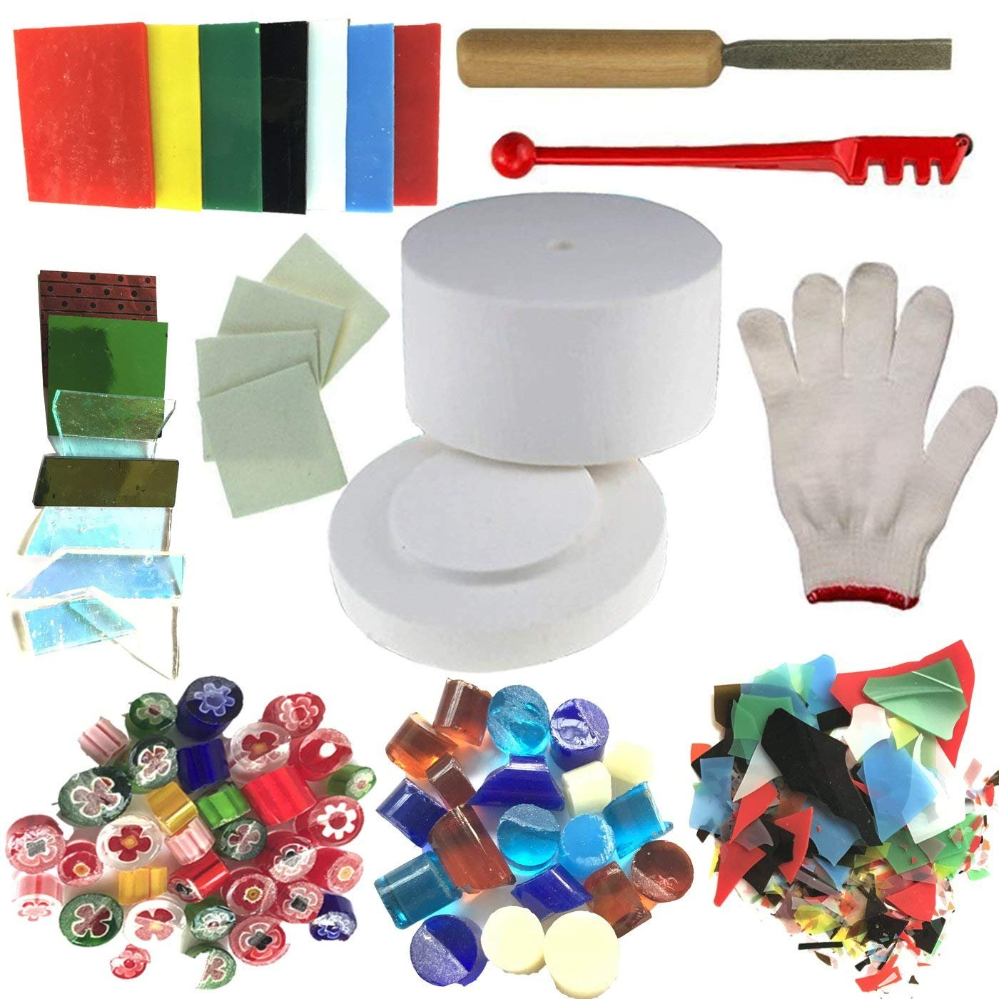 Microwave Kiln and DIY Fusing Glass Jewelry Set - Professional Simple Making DIY Jewelry Glass Fusing Tools Set (Have Instructions)