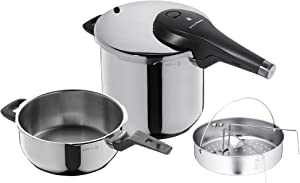 WMF Perfect Premium Pressure Cooker 6.5L Set of 2Cooking Levels Single-handed Pressure Regulator Polished & 3,0l with Insert Set Cromargan Stainless Steel, Dishwasher Safe, Diameter 22cm Suitable for Induction, Stainless Steel, Silver, 2Units