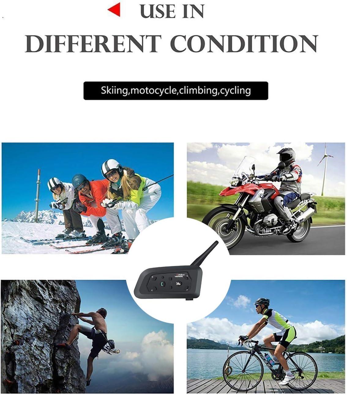 Motorcycle Helmet Bluetooth Intercom BT Multi Interphone Headset 1200M Bluetooth Motorbike Intercom Interphone Skiing Helmet Communication System Connect Up to 6 Riders V6 2 Pack