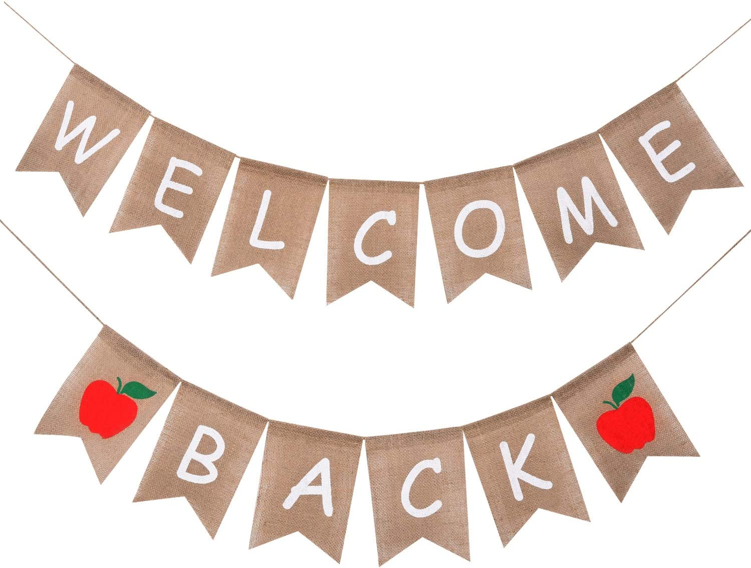 Welcome Back Banner Burlap - First Day of School Banner - Teacher Banner - Classroom Decor- Back to School Decorations - Office Decor - Welcome Banner for Party (2 Pack-Welcome Back Banner)