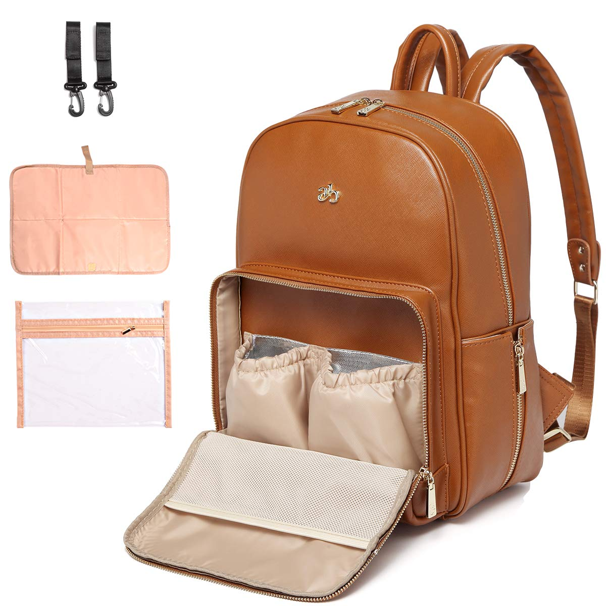 PU Leather Diaper Bag Backpack Nappy Bag Baby Bags for Mom Unisex Maternity Diaper Bag with Stroller Hanger Thermal Pockets Adjustable Shoulder Straps Water Proof  LargeCapacity (Brown)
