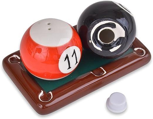 La novedad Mesa de billar con bolas de cerámica sal y pimienta/Ollas: Amazon.es: Hogar