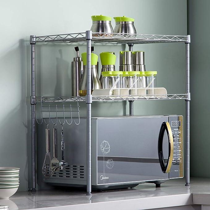 SINGAYE 2 Tier Adjustable Oven Microwave Rack Baker/'s Rack Kitchen Storage Rack Kitchen Shelving Unit with 2 Shelf Liners