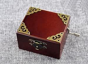 Cuzit - Caja de música de madera con patrón de metal vintage para reloj, diseño de caja de música, manualidades en el cielo: Amazon.es: Hogar