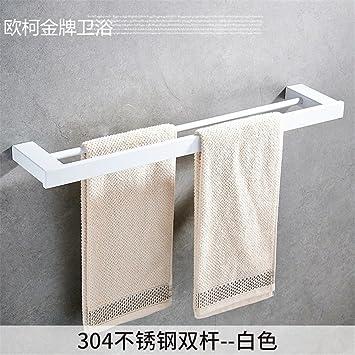 Hlluya Toallero Acero Inoxidable 304 WC baño Negro toallero Racks, Juego de Toallas de 2 Blanco: Amazon.es: Hogar