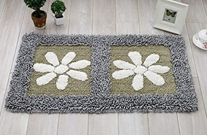 Amazon Com Lamourbear Floral Bath Mat Non Slip Small Floor Rugs For