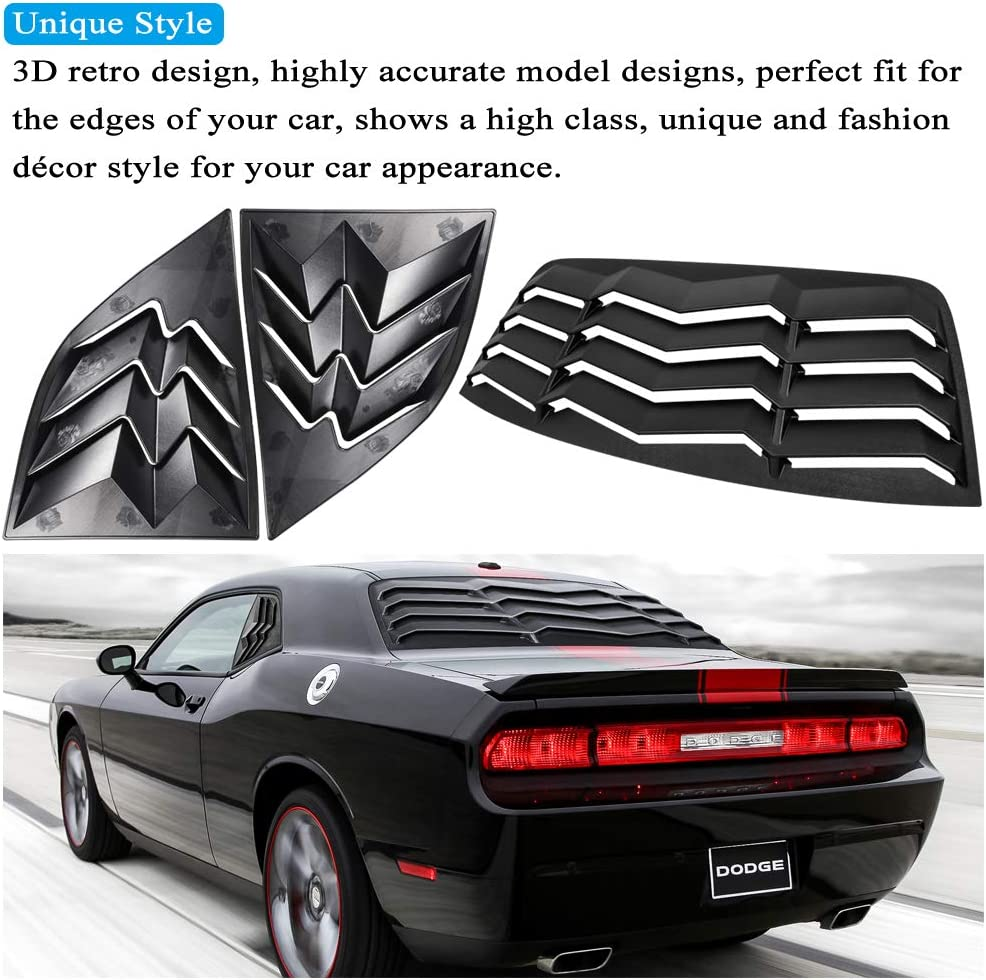 Matte Black, Complete Set For Challenger Rear /& Side Window Louvers ABS Windshield Air Vent Scoop Sun Shade Cover for GT Lambo Style Compatible with Dodge Challenger 2008-2019 Custom Fit All Weather