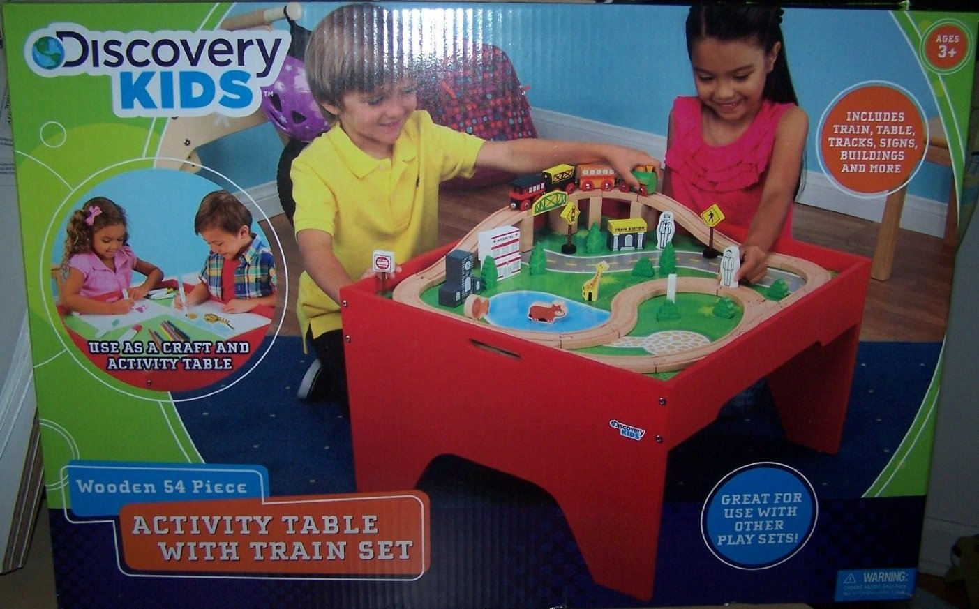 Amazon.com: Discovery Kids Wooden 54 Piece Activity Table With Train Set:  Toys U0026 Games