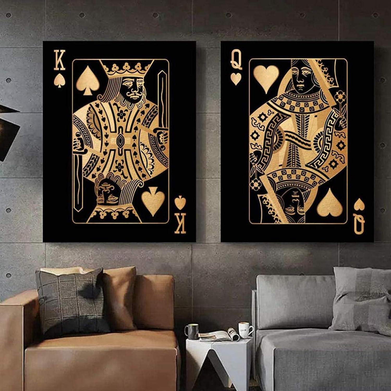 QWEWQE Juego de cuadros de oro Queen King Poker con citas nórdicas y citas de póquer, color negro y dorado, para decoración de dormitorio, sin marco (60 x 90 cm x 2)