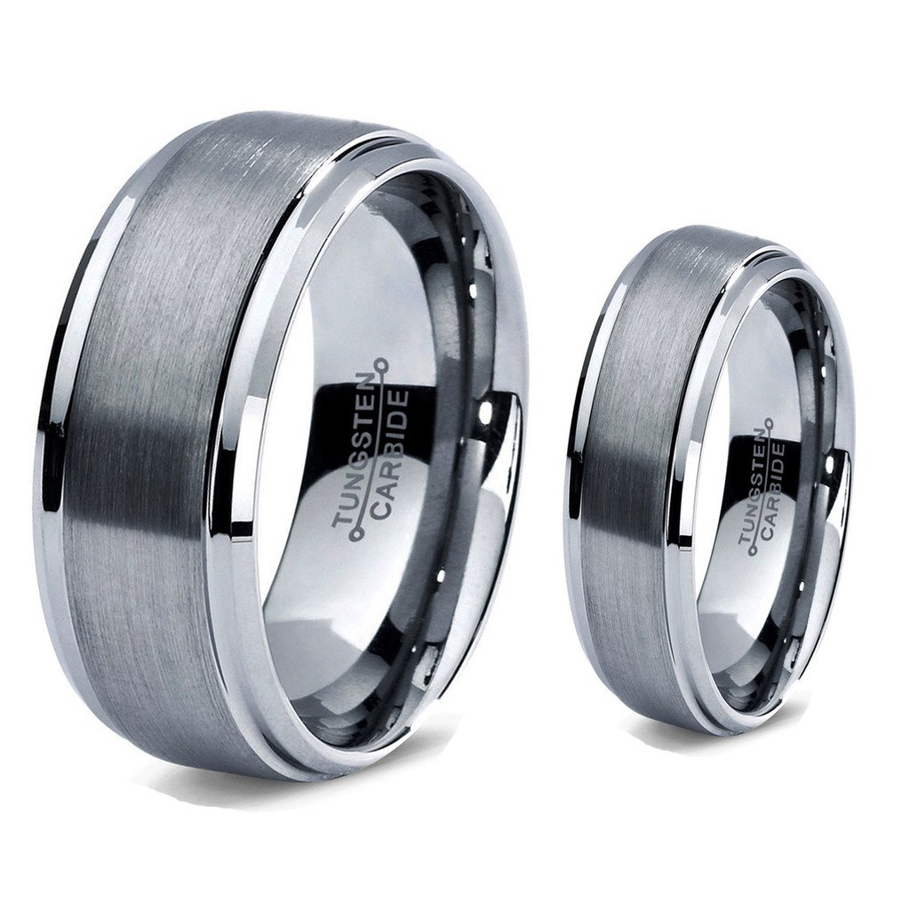 His & Her's - 8MM/6MM Tungsten Carbide Step Edge with Brushed Center Wedding Band Ring Set