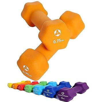 Pesas de neopreno »Lire« / Mancuernas disponibles en diferentes pesos y colores / 0,75 kg, naranja: Amazon.es: Deportes y aire libre