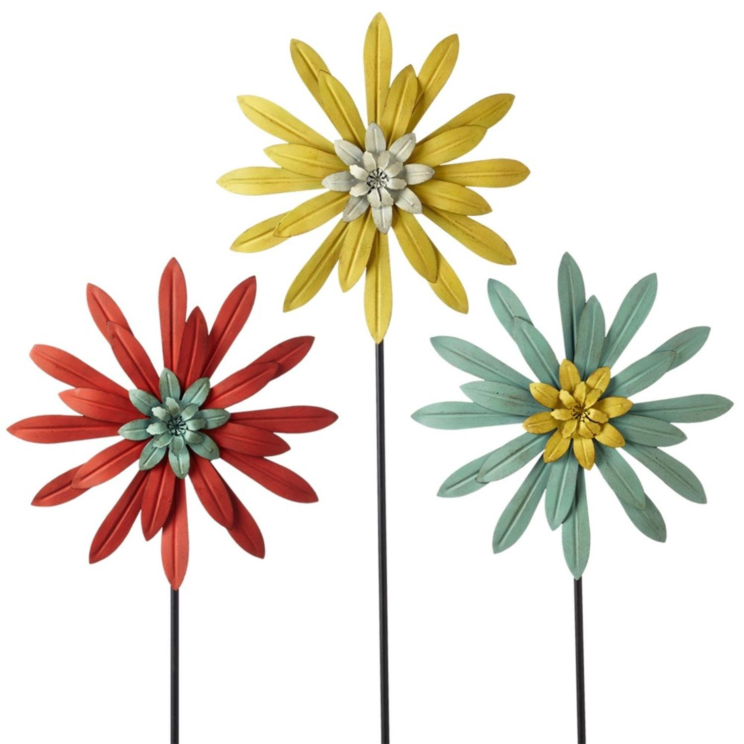 Diva At Home Set of 3 Red, Yellow and Blue Layered Metal Flower Garden Stake 36''