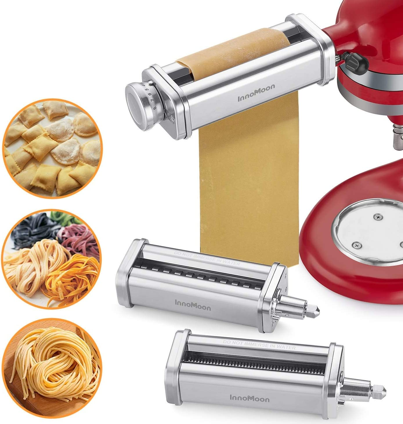 AMZCHEF Universal Pasta Roller Attachment Pasta Maker Stainless Steel Dough Roller Accessory Compatible with Kitchenaid Stand Mixers