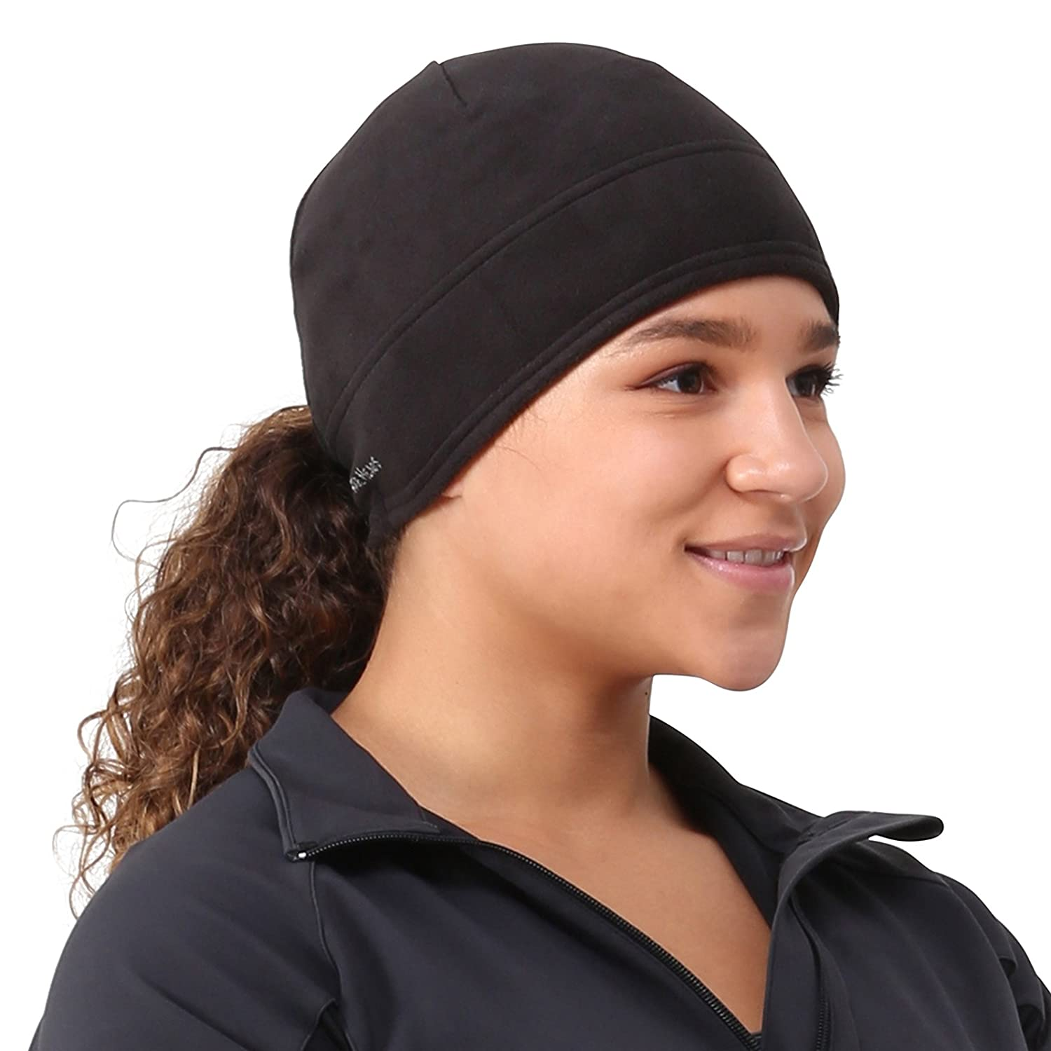 TrailHeads Women's Microfleece Ponytail Hat (black)