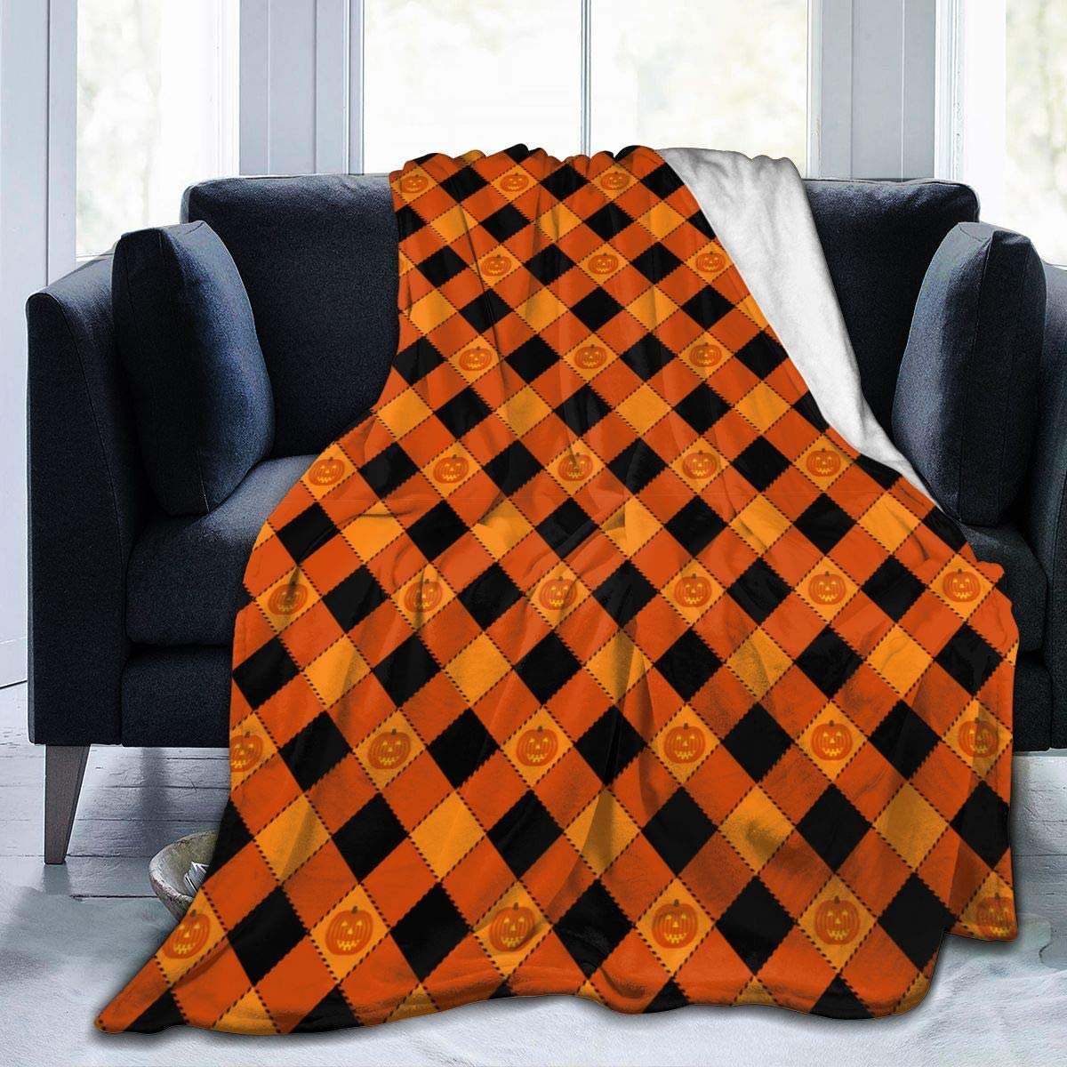 ARTIEMASTER Happy Halloween Pumpkin Flannel Blanket Throw Cozy Soft Quilt Fit Office Dormitory Home Farmhouse Travel for Adult 80X60 Inch