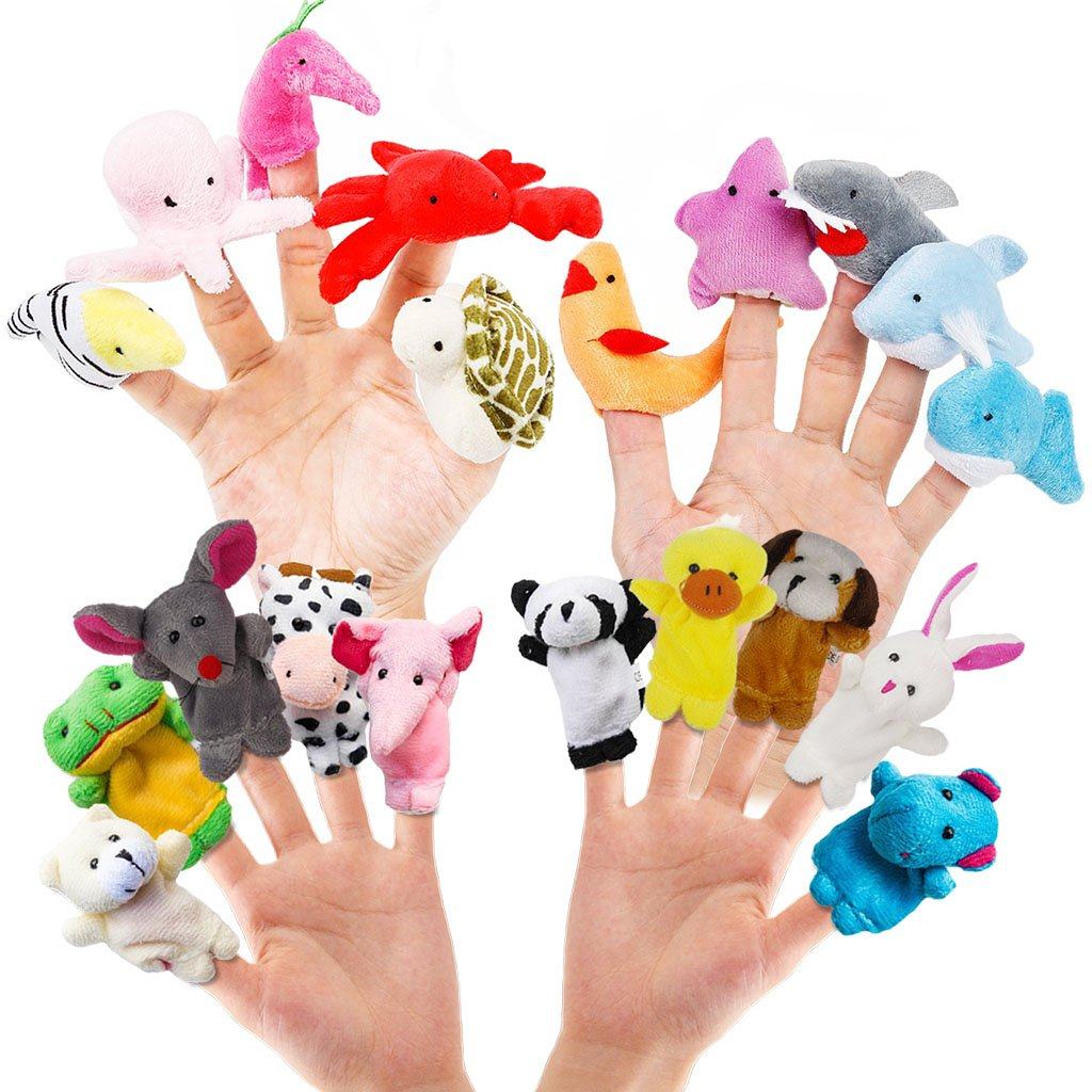 RIY 20pcs Story Toys Finger Puppets for Kids Toddlers Cartoon Animal Soft Velvet Dolls Props RToy-20