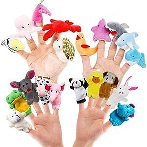 RIY 20pcs Story Toys Finger Puppets for Kids Toddlers Cartoon Animal Soft Velvet Dolls Props