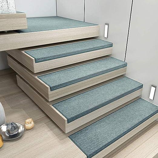 Alfombrillas para escaleras interiores Juego de 6 alfombras de escalera de microfibra ultradelgadas con respaldo de goma antideslizante Lavadora Caja fuerte (10x30) ,GemstoneGreen,12x32: Amazon.es: Hogar