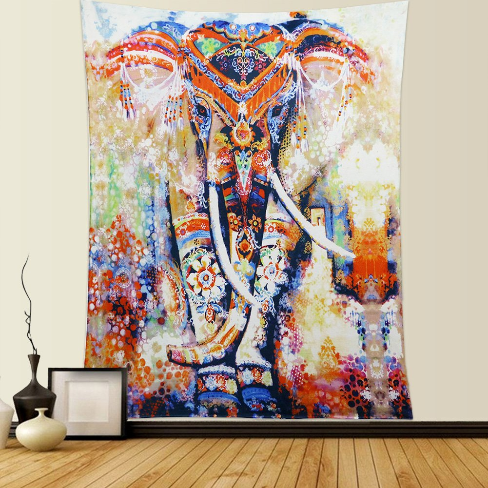 "Indian Tapestry Mandala Wall Hanging Dremisland Hippie Tapestries Bohemian Tapestry Wall Hanging Throw Bed Spread Yoga Mat Beach Mat (L:80""X60"", Orange Elephant)"