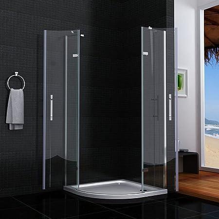 Mampara de ducha semicircular de cristal templado transparente con ...