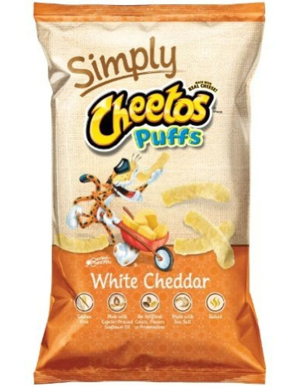 Frito Lay, Cheetos, Simply White Cheddar Cheese Puffs, 4.5oz Bag (Pack of 3)