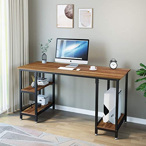 Dprodo Computer Desk with 4 Shelves, 47.2 inch Study Writing Desk with Storage Bookshelf, Wood Laptop Study Table Office Corner Desk for Home Office, Sturdy Metal Frame,Easy Assembly – Walnut