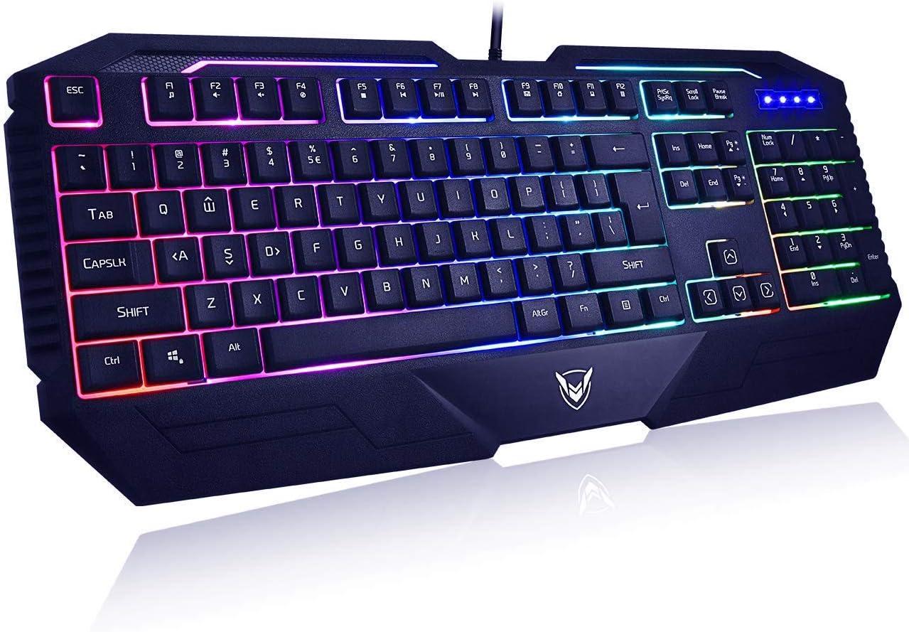 PICTEK Mechanical Gaming Keyboard, 104 Key RGB Mechanical Feeling Gaming Keyboard Adjustable Rainbow LED Backlit Waterproof Computer PC Mac Keyboard for Gamers Typists (19 Anti-Ghosting Keys)