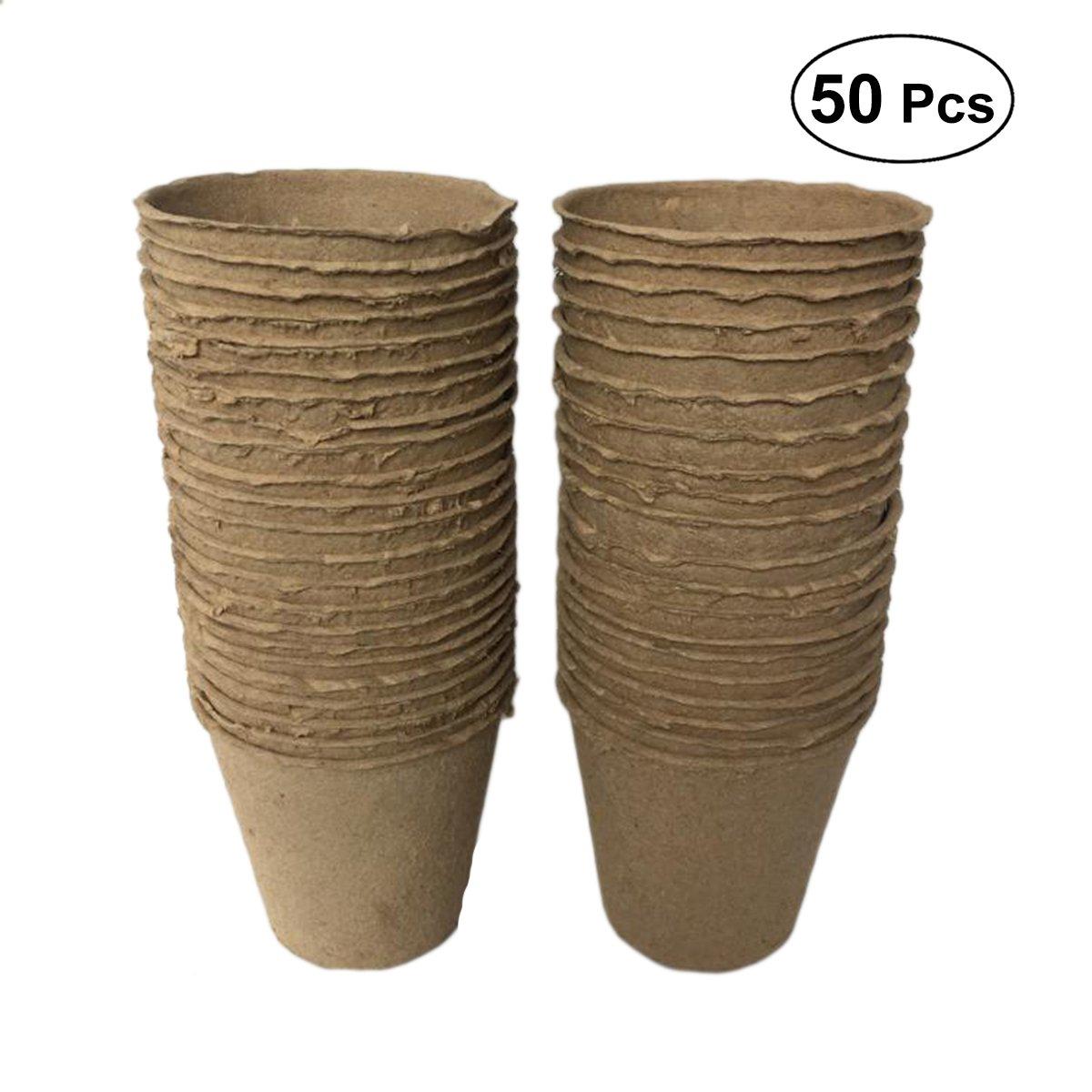 OUNONA 50PCS Paper Pulp nursery pot Seedling nursery pots Cup biodegradabile forniture da giardino