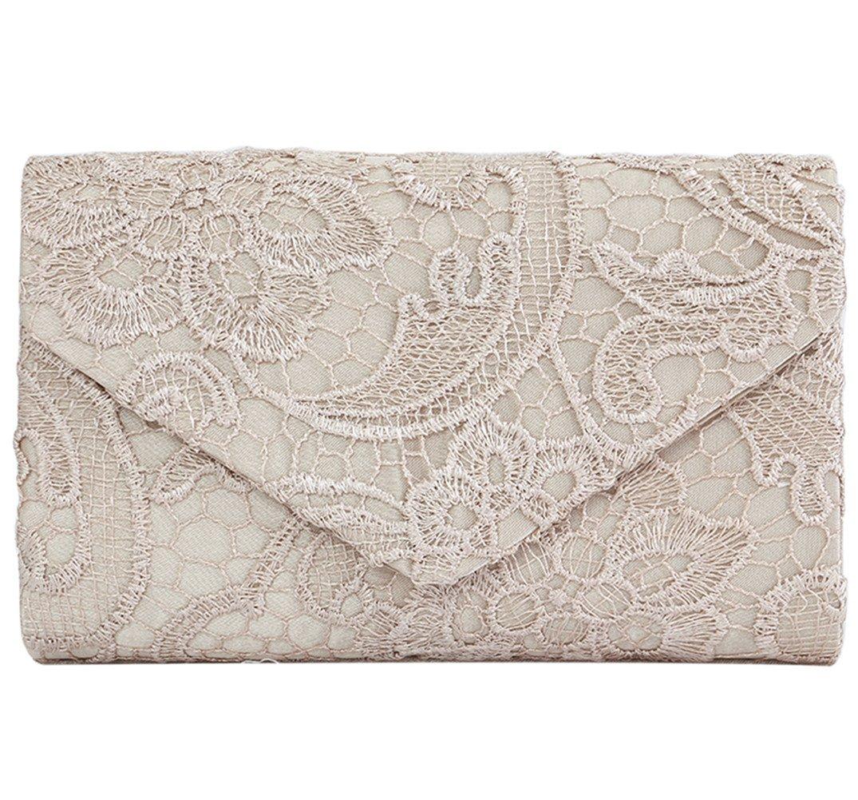 U-Story Womens Floral Lace Satin Evening Envelope Clutch Bridal Wedding Handbag Purse (Champagne)