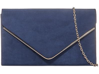 21aca46a5ef Dark Blue Envelope Clutch Bag, Navy Faux Suede Evening Bag, Ladies ...