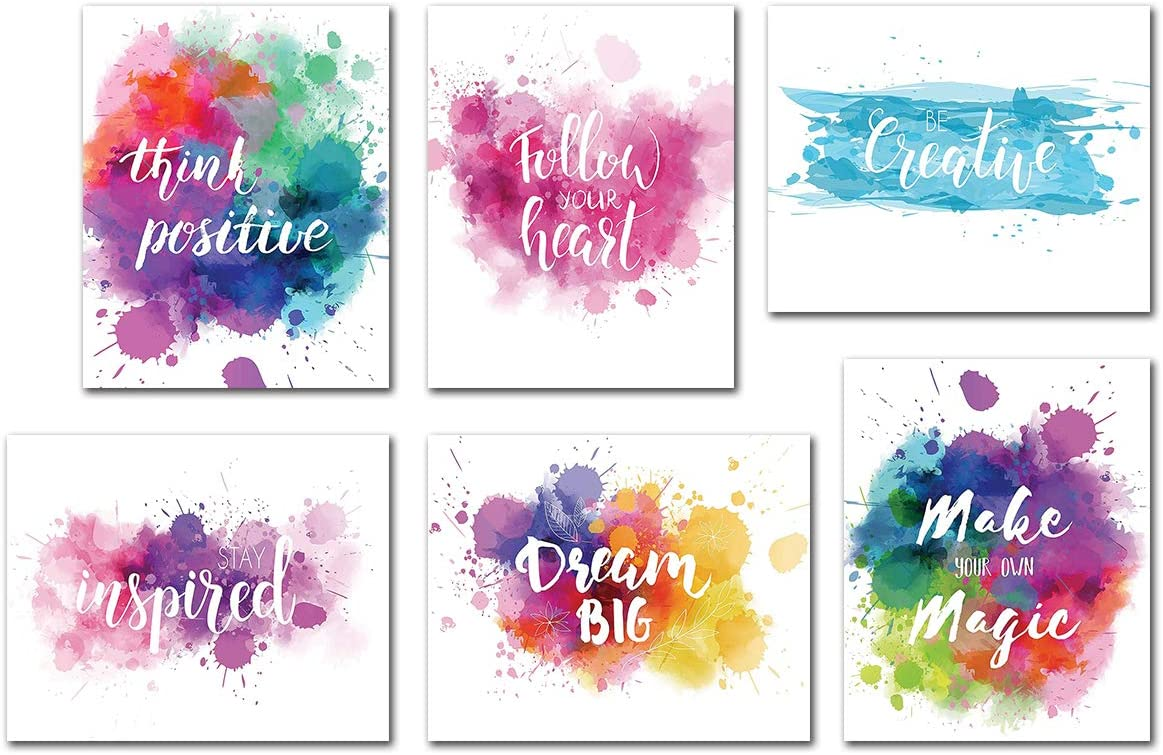 Amazon Com Inspirational Wall Art Quotes Poster Home Office Giclee Print Kitchen Living Room Decoration Kids Teens Bedroom Decor Motivational Painting Artwork 6 Piece Unframed Canvas Sayings Positive Phrase Posters Prints