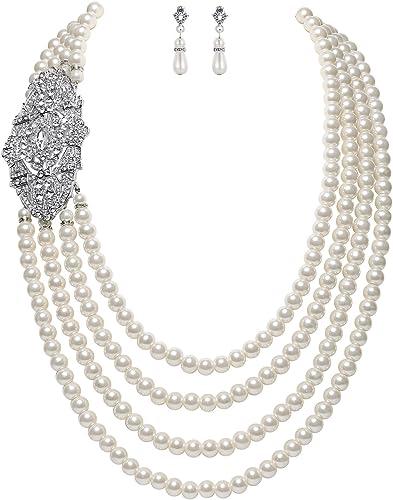 Collar y Pendientes de Perlas imitación con Broche de Flor Cristal