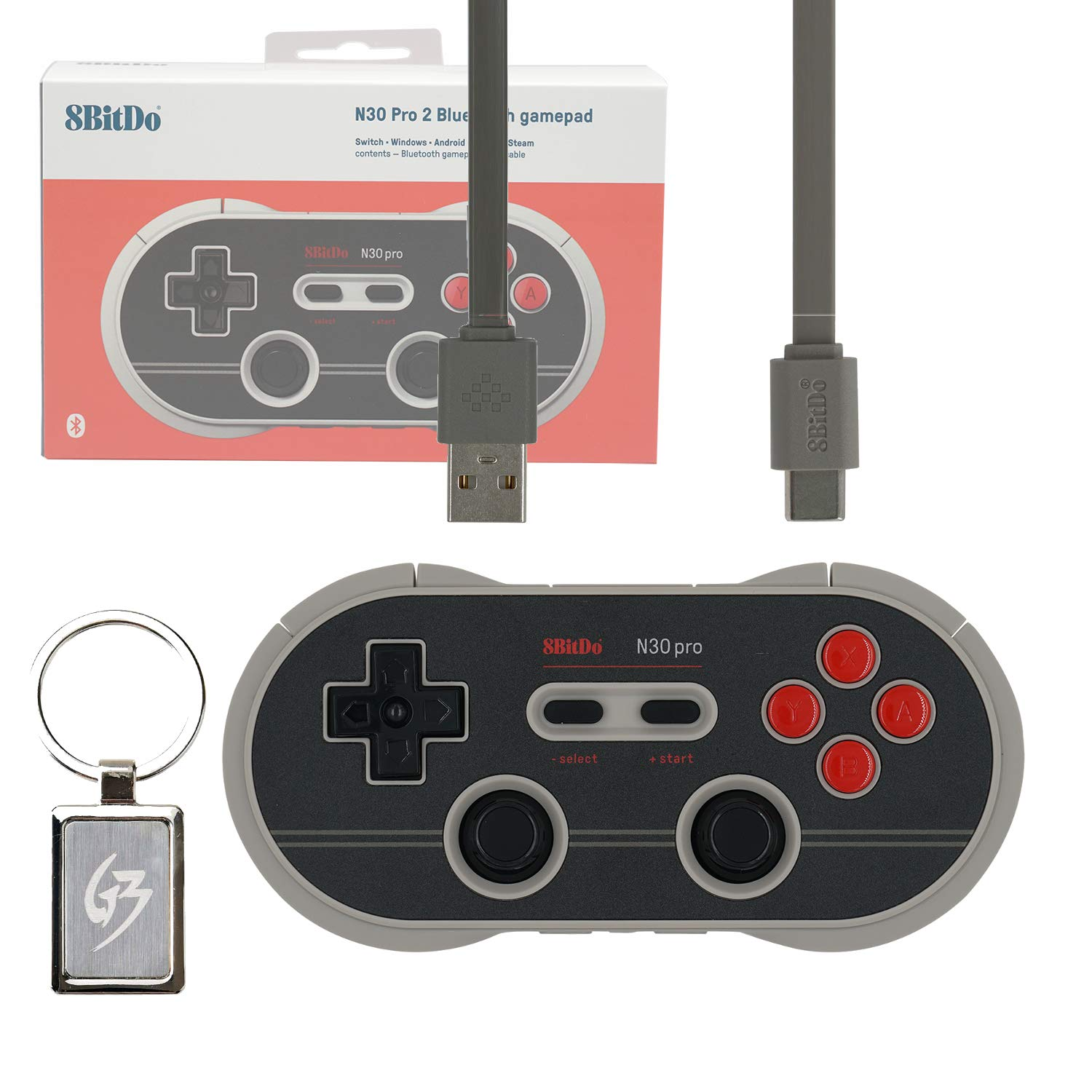Mcbazel 8Bitdo N30 Pro2 Wireless Bluetooth Gamepad Controller N Edition for Nintendo Switch MacOS Android Windows Steam with Gam3Gear Keychain