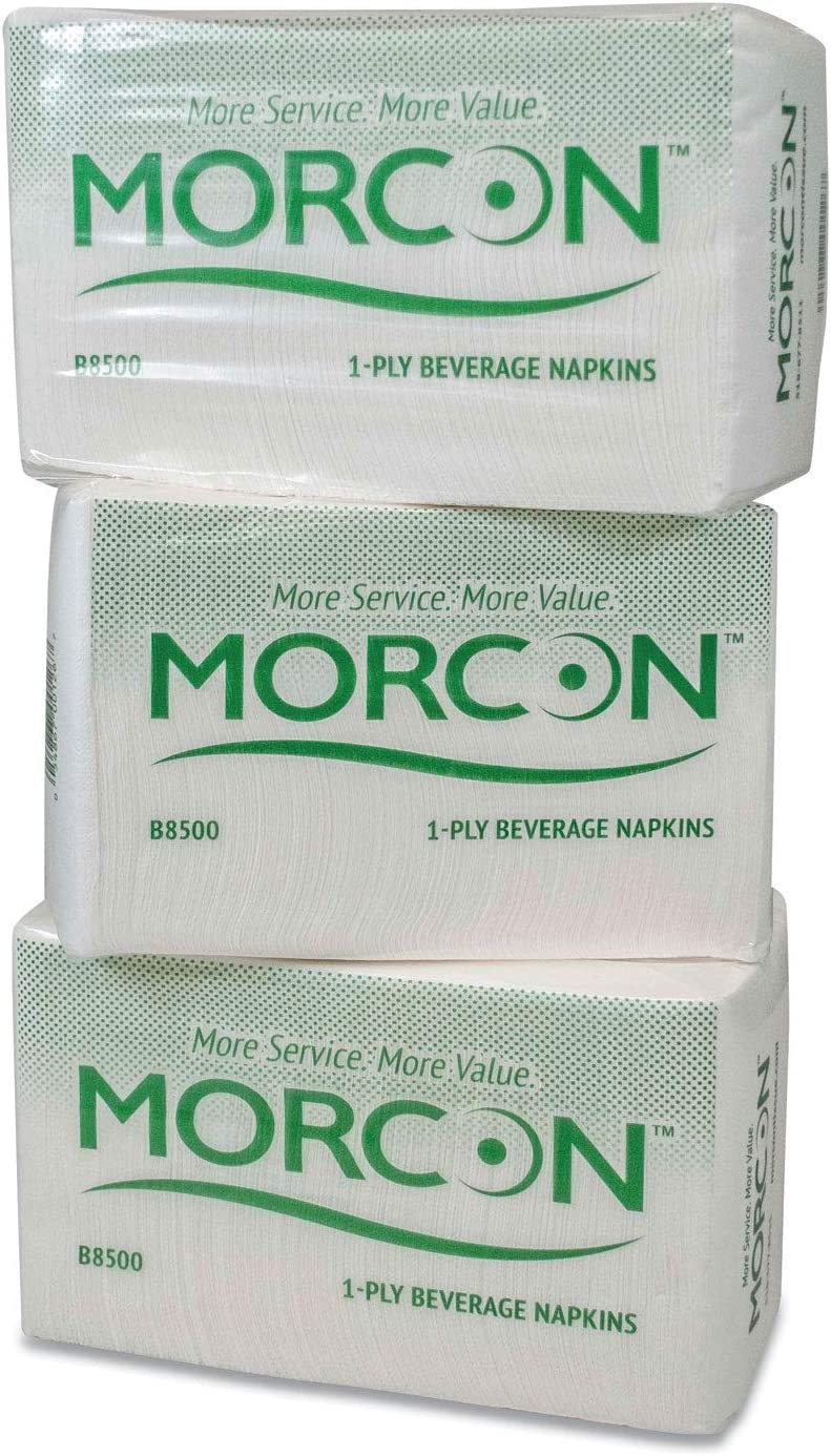 Morcon BEVERAGE NAPKIN, 9 X 9/4, WHITE, 500/PACK, 8 PACKS/CARTON